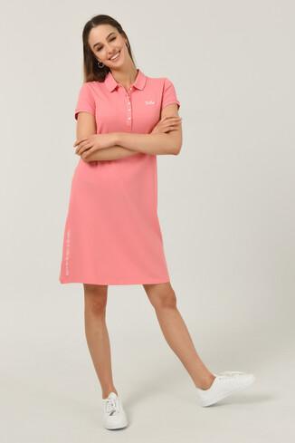UCLA - MADEIRA Pembe Polo Yaka Nakışlı Kadın Elbise
