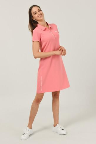 MADEIRA Pembe Polo Yaka Nakışlı Kadın Elbise - Thumbnail (2)