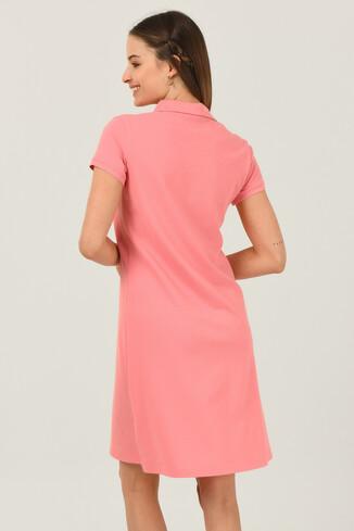 MADEIRA Pembe Polo Yaka Nakışlı Kadın Elbise - Thumbnail (4)