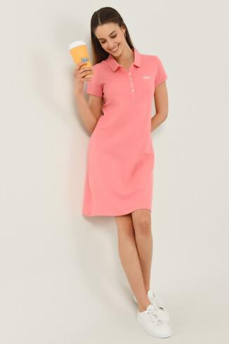 MADEIRA Pembe Polo Yaka Nakışlı Kadın Elbise - Thumbnail (3)
