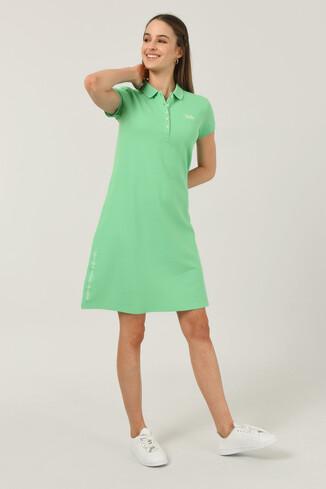 UCLA - MADEIRA Yeşil Polo Yaka Nakışlı Kadın Elbise