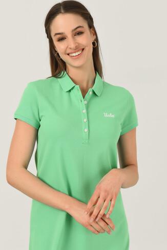 UCLA - MADEIRA Yeşil Polo Yaka Nakışlı Kadın Elbise (1)