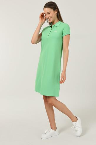 MADEIRA Yeşil Polo Yaka Nakışlı Kadın Elbise - Thumbnail (2)