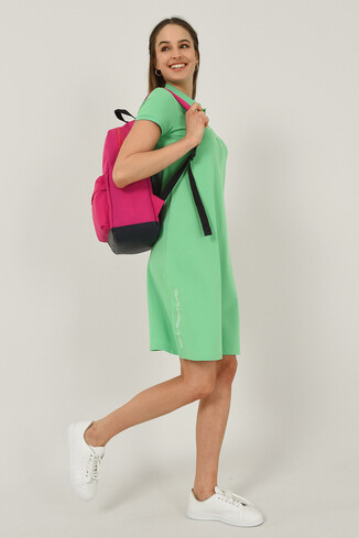 MADEIRA Yeşil Polo Yaka Nakışlı Kadın Elbise - Thumbnail (4)