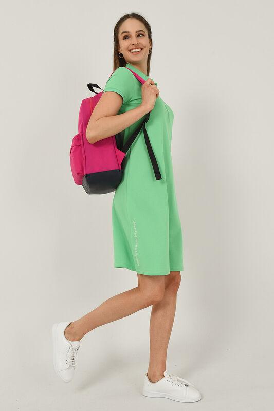 MADEIRA Yeşil Polo Yaka Nakışlı Kadın Elbise - Thumbnail