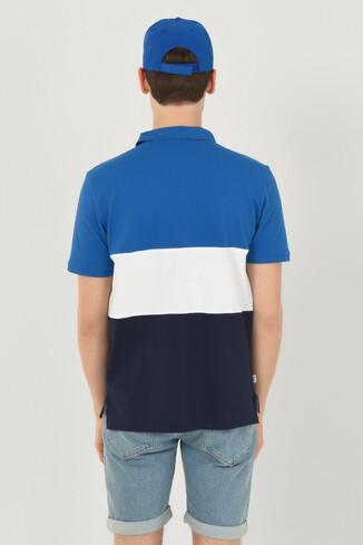 MANTECA Mavi Polo Yaka Nakışlı Erkek Tshirt - Thumbnail (4)