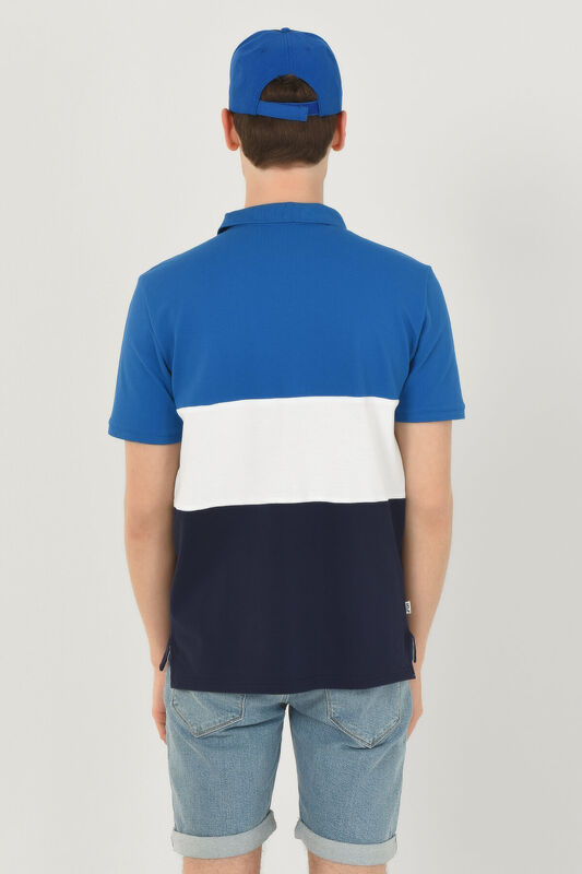 MANTECA Mavi Polo Yaka Nakışlı Erkek Tshirt - Thumbnail