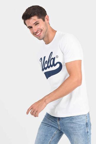 MARGAN Beyaz Bisiklet Yaka Erkek T-shirt - Thumbnail (3)