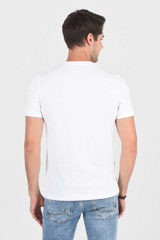 MARGAN Beyaz Bisiklet Yaka Erkek T-shirt - Thumbnail (4)