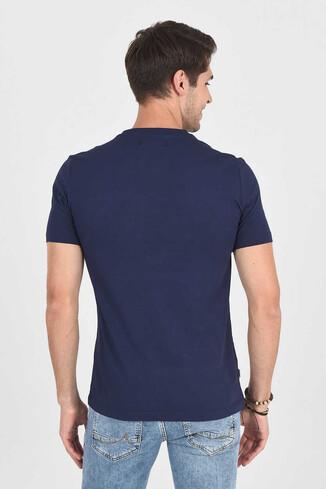 MARGAN Lacivert Bisiklet Yaka Erkek T-shirt - Thumbnail (4)