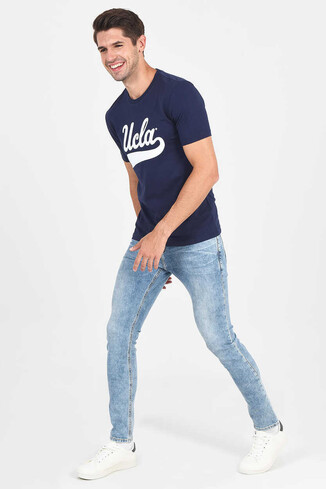 UCLA - MARGAN Lacivert Bisiklet Yaka Erkek T-shirt