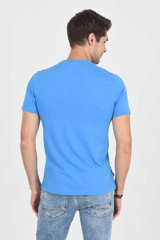 MARGAN Mavi Bisiklet Yaka Erkek T-shirt - Thumbnail (4)