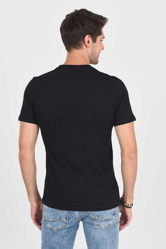 MARGAN Siyah Bisiklet Yaka Erkek T-shirt - Thumbnail (4)