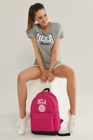 UCLA - MATEO Gri Bisiklet Yaka Baskılı Kadın T-shirt