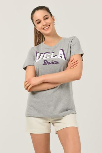 UCLA - MATEO Gri Bisiklet Yaka Baskılı Kadın T-shirt (1)