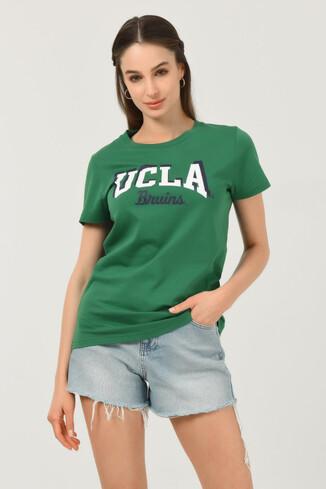 UCLA - MATEO Yeşil Bisiklet Yaka Baskılı Kadın T-shirt (1)