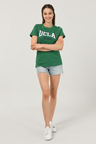 MATEO Yeşil Bisiklet Yaka Baskılı Kadın T-shirt - Thumbnail (3)