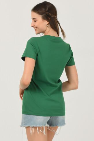 MATEO Yeşil Bisiklet Yaka Baskılı Kadın T-shirt - Thumbnail (4)