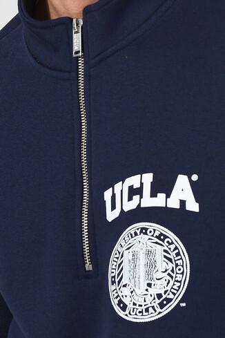 UCLA - MAYWOOD Lacivert Yarım Fermuarlı Baskılı Erkek Sweatshirt