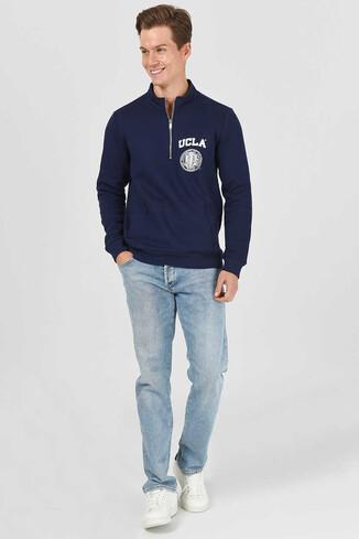 UCLA - MAYWOOD Lacivert Yarım Fermuarlı Baskılı Erkek Sweatshirt (1)