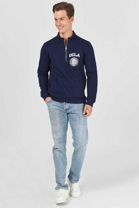 MAYWOOD Lacivert Yarım Fermuarlı Baskılı Erkek Sweatshirt - Thumbnail