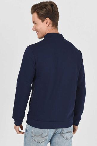 MAYWOOD Lacivert Yarım Fermuarlı Baskılı Erkek Sweatshirt - Thumbnail (3)