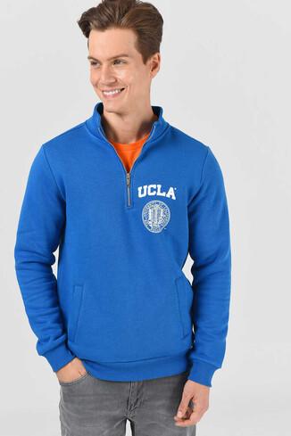 UCLA - MAYWOOD Mavi Yarım Fermuarlı Baskılı Erkek Sweatshirt