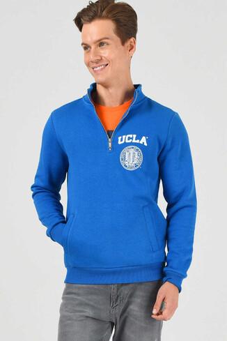 UCLA - MAYWOOD Mavi Yarım Fermuarlı Baskılı Erkek Sweatshirt (1)