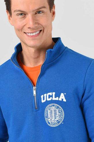 MAYWOOD Mavi Yarım Fermuarlı Baskılı Erkek Sweatshirt - Thumbnail (2)