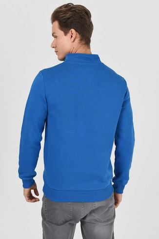 MAYWOOD Mavi Yarım Fermuarlı Baskılı Erkek Sweatshirt - Thumbnail (3)