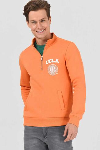 UCLA - MAYWOOD Turuncu Yarım Fermuarlı Baskılı Erkek Sweatshirt