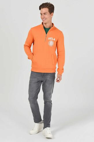 UCLA - MAYWOOD Turuncu Yarım Fermuarlı Baskılı Erkek Sweatshirt (1)
