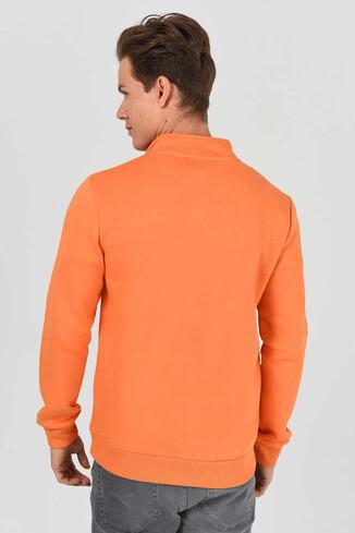 MAYWOOD Turuncu Yarım Fermuarlı Baskılı Erkek Sweatshirt - Thumbnail (3)