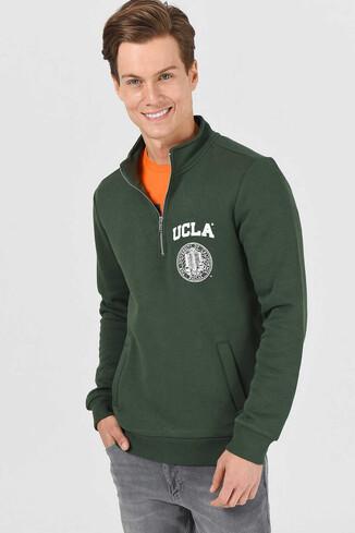 UCLA - MAYWOOD Yeşil Yarım Fermuarlı Baskılı Erkek Sweatshirt