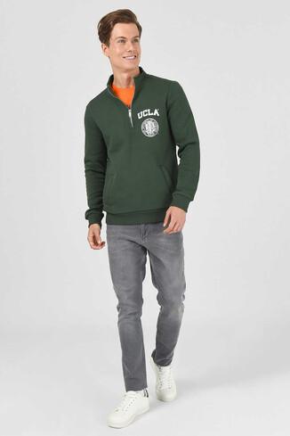 UCLA - MAYWOOD Yeşil Yarım Fermuarlı Baskılı Erkek Sweatshirt (1)