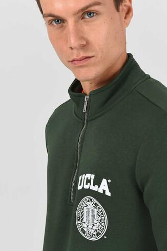 MAYWOOD Yeşil Yarım Fermuarlı Baskılı Erkek Sweatshirt - Thumbnail (2)
