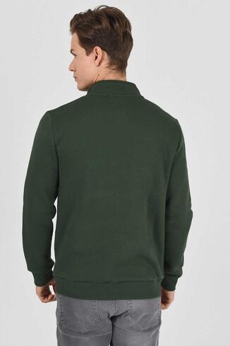 MAYWOOD Yeşil Yarım Fermuarlı Baskılı Erkek Sweatshirt - Thumbnail (3)