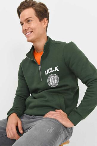 MAYWOOD Yeşil Yarım Fermuarlı Baskılı Erkek Sweatshirt - Thumbnail (4)