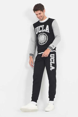 UCLA - MIDVALE NEW Siyah Daralan Kesim Aplikeli Erkek Eşofman Alt (1)