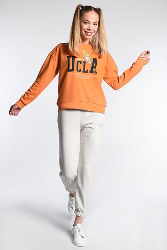 UCLA - MIRADA Krem Rahat Kesim Baskılı Kadın Eşofman Alt