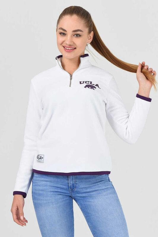 MIRAGE Beyaz Yarım Fermuarlı Baskılı Kadın Sweatshirt - Thumbnail
