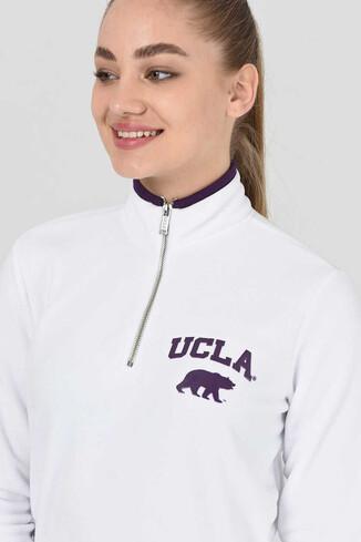 UCLA - MIRAGE Beyaz Yarım Fermuarlı Baskılı Kadın Sweatshirt (1)