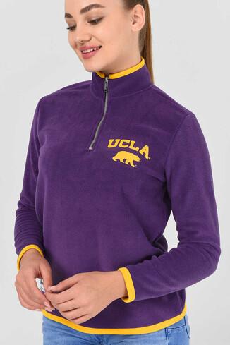UCLA - MIRAGE Mor Yarım Fermuarlı Baskılı Kadın Sweatshirt
