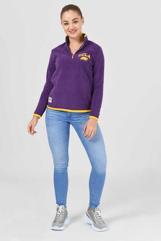 UCLA - MIRAGE Mor Yarım Fermuarlı Baskılı Kadın Sweatshirt (1)
