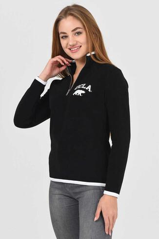 UCLA - MIRAGE Siyah Yarım Fermuarlı Baskılı Kadın Sweatshirt