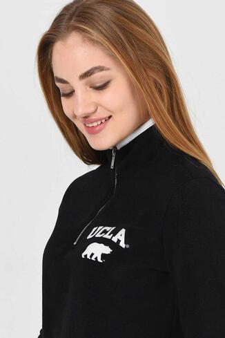 UCLA - MIRAGE Siyah Yarım Fermuarlı Baskılı Kadın Sweatshirt (1)