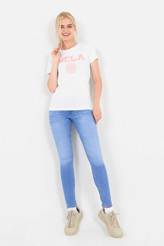UCLA - MOJAVE Beyaz Bisiklet Yaka Kadın T-shirt (1)