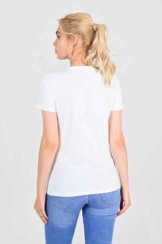 MOJAVE Beyaz Bisiklet Yaka Kadın T-shirt - Thumbnail (3)