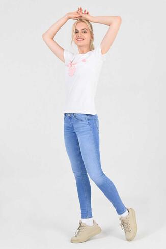 UCLA - MOJAVE Beyaz Bisiklet Yaka Kadın T-shirt