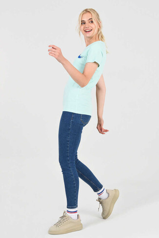 UCLA - MOJAVE Mint Bisiklet Yaka Kadın T-shirt (1)